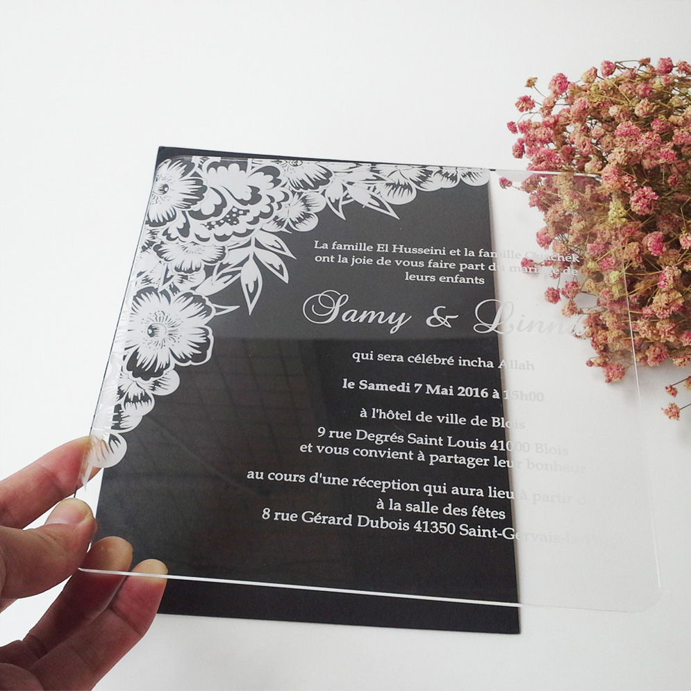 sample order for 77inch flower elements square shape clear acrylic wedding invitation card