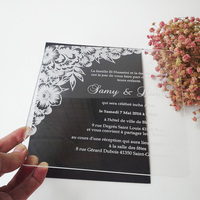 Sample Order For 7 7inch Flower Elements Square Shape Clear Acrylic Wedding Invitation Card