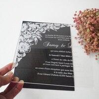 عناصر عينه لمدة 7*7 بوصة زهرة شكل واضح الاكريليك مربع بطاقة دعوة الزفاف