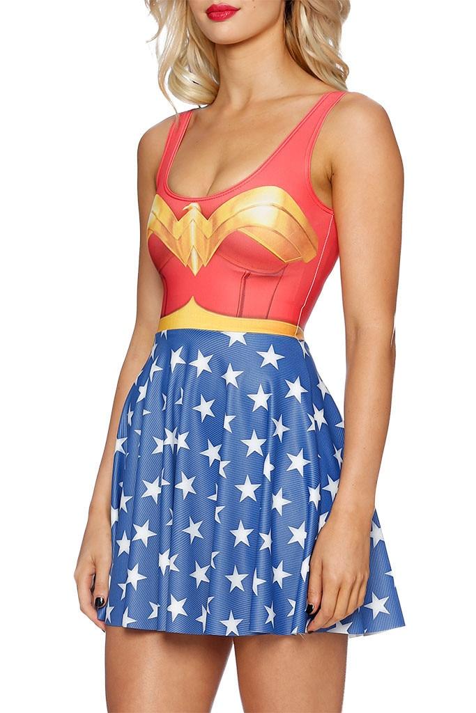 3D Print Super Women Girl Summer Dresses Cosplay Wonder Woman Costume Vestidos Sleeveless Sexy A-line Dress Plus size