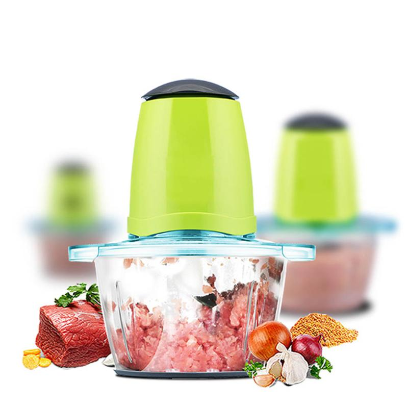 EU 2.0L Large Capacity Household Glass & Stainless steel electric meat grinder multi-function side dish blender Food Grinders cukyi household electric multi function cooker 220v stainless steel colorful stew cook steam machine 5 in 1