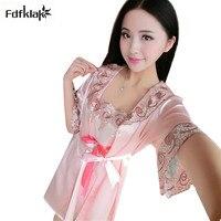 9f10099f4 Sexy Silk Lace Dressing Gown Spring Summer Women S Robes Half Sleeve Women  Sleepwear Robe Set