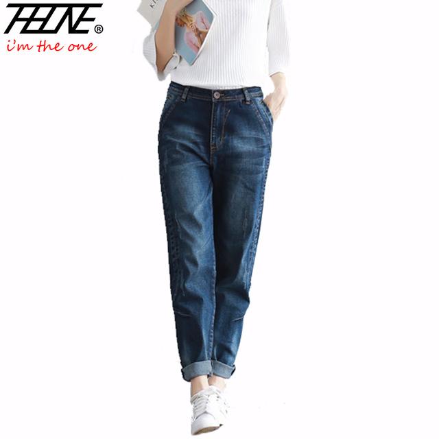2016 Boyfriend Jeans Pantalones Harén Mujeres Pantalones Casuales Más El Tamaño Loose Fit Pantalones Vaqueros de Cintura Alta Mujeres Vaqueros de Mezclilla de La Vendimia
