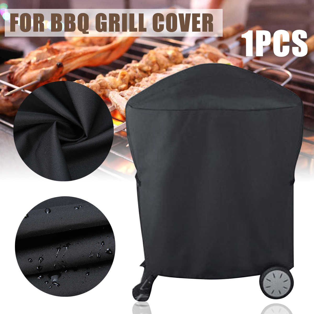 Black Waterproof BBQ Cover Barbeque Rolling Cart Grill Cover for Weber Q1000 Q2000 Series Protector