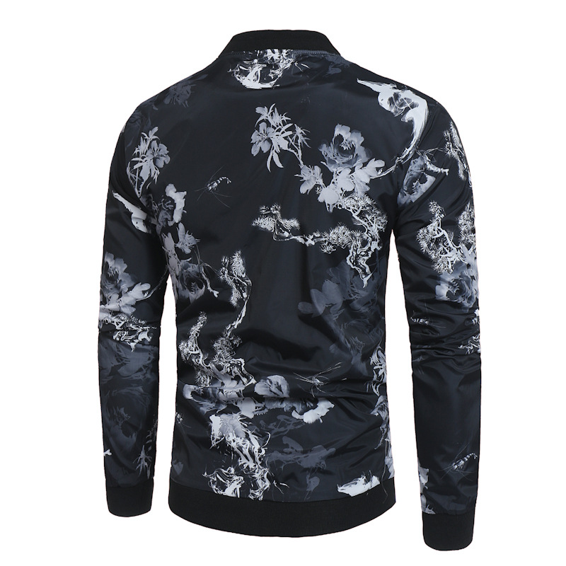 2e7184e787a6f Floral Print Black Bomber Jacket Men 2019 Brand New Spring Casual Baseball  Jacket Mens Plus Size Jackets and Coats Veste Homme-in Jackets from Men s  ...