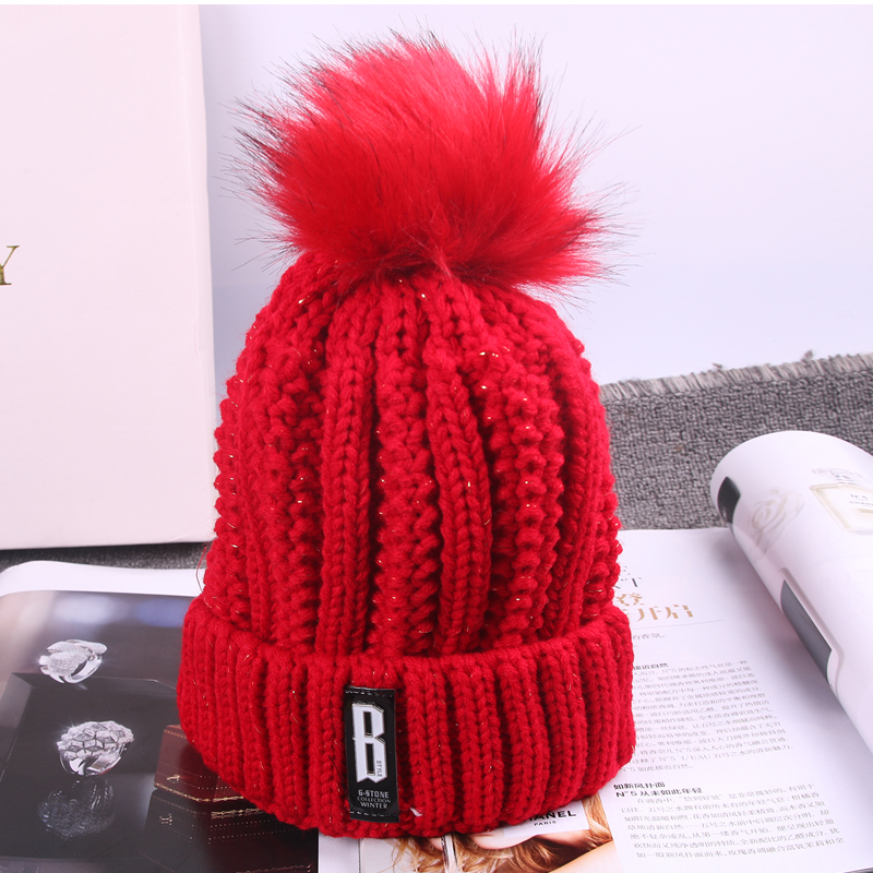 2017 hot Letter B Casual Hats Knit Winter Women B wool Crochet Cap Hats Fur Pompoms