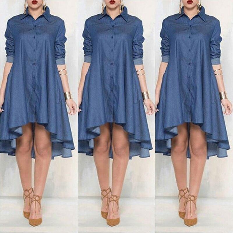 New Women Plus Size Jeans Dress Denim Loose Mini Dress Irregular