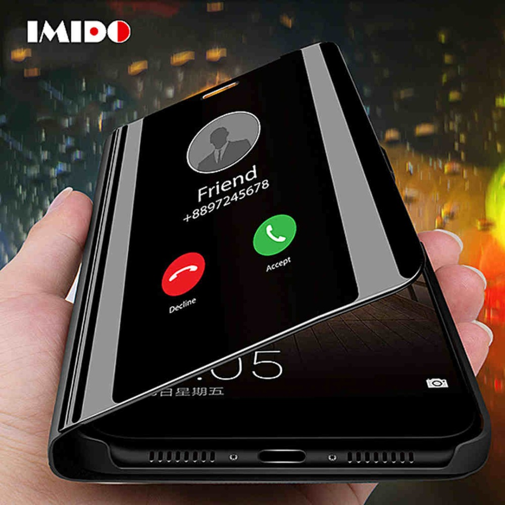 IMIDO Clear View Smart Mirror Phone Case For Xiaomi 9 Fashion Flip Stand Leather View Window Back Cover For Xiaomi 9 SE Coque in Flip Cases from Cellphones Telecommunications