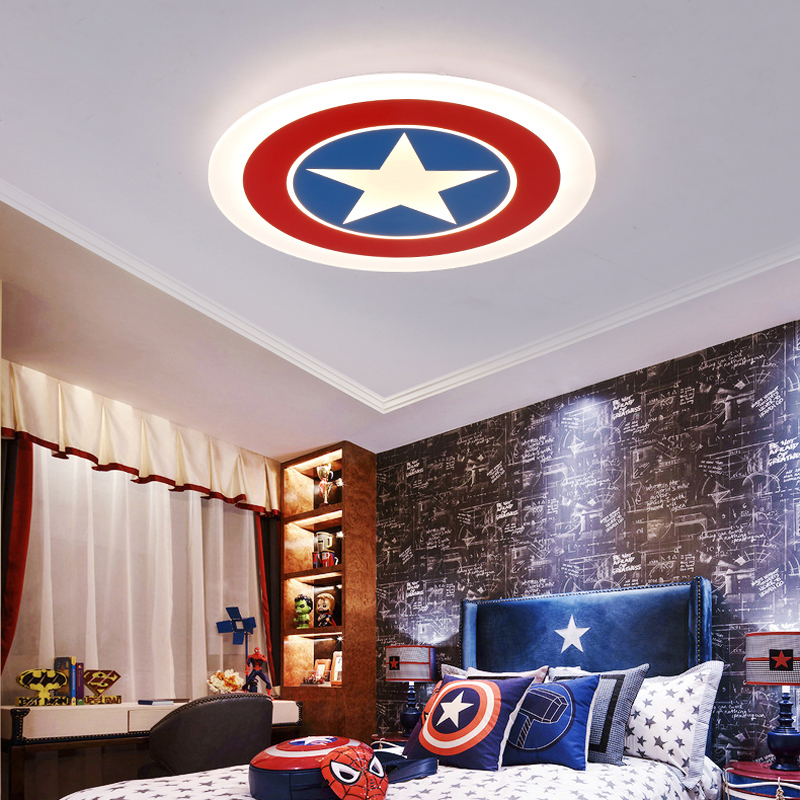 America Hero Cartoon Ceiling Lights Creative Girl Boy Kids Baby Children Living Room Bedroom lustre Home Indoor Lighting Decor creative cartoon baby cute led act the role ofing boy room bedroom chandeliers children room roof plane light absorption