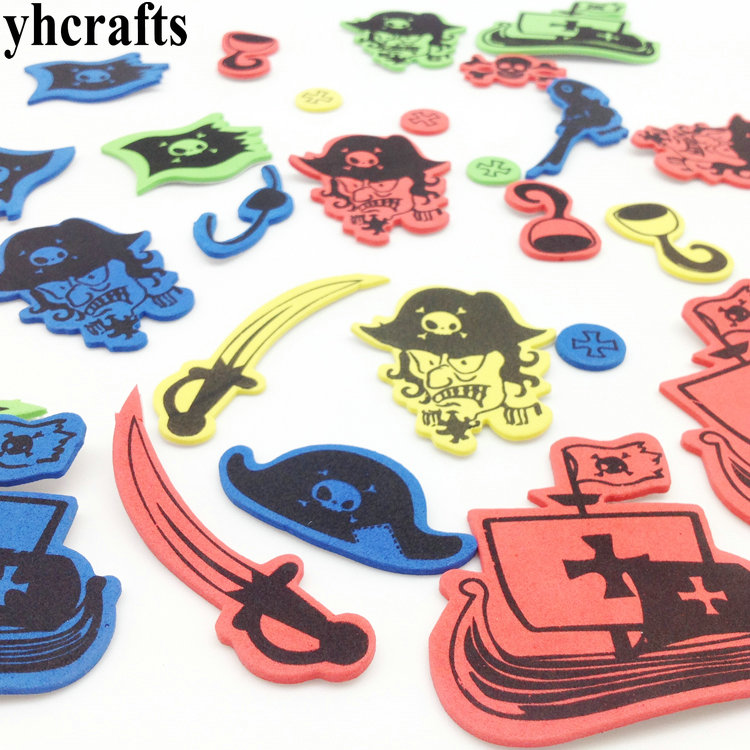 1bag/LOT.halloween Pirate Foam Stickers.Early Educational Toys Kindergarten Crafts Creative Activity Items Kids Diy Toys OEM
