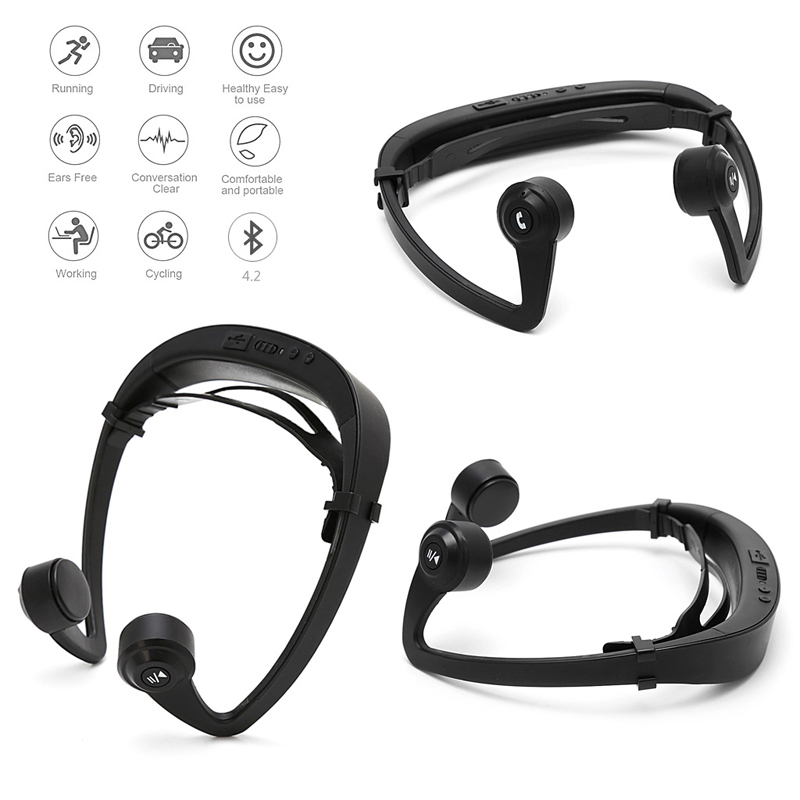 2018 Ear Hook Bone Conduction Bluetooth 4.2 Sports Headphone Headset With Mic Adjustable headband For Smartphone bluetooth 4 1 bone conduction sports waterproof headset wireless ear hook headphone w mic white
