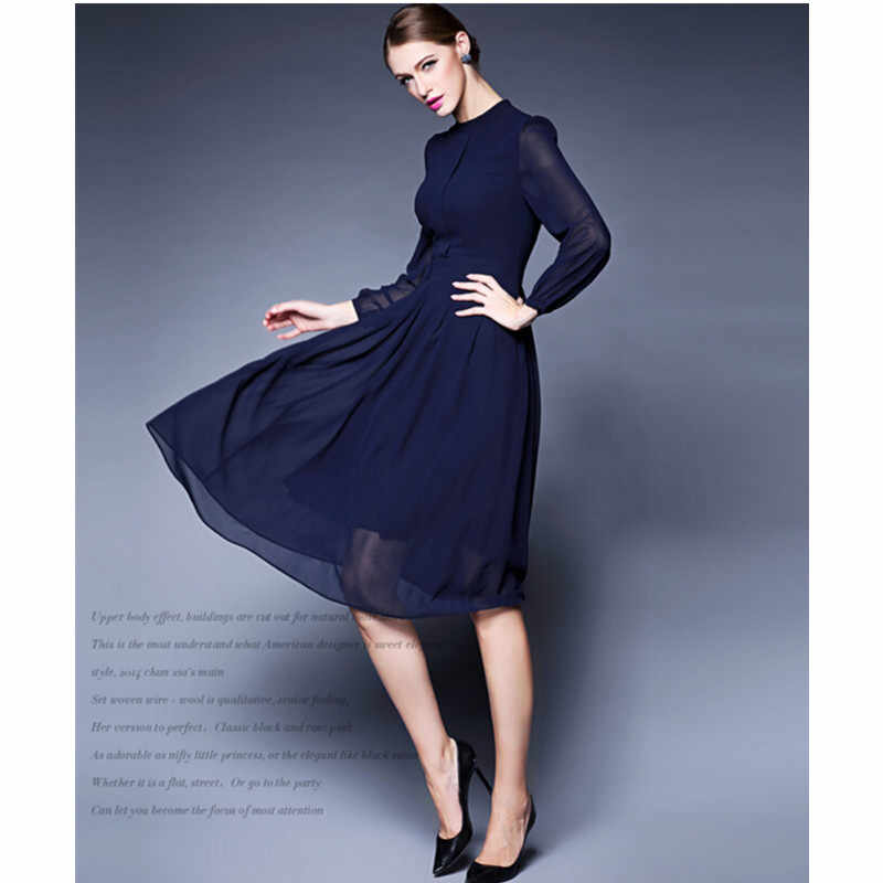 dff071631d ... WBCTW Midi Length Dress For Work Long Sleeve Solid Purple High Waist  Plus Size Dress Elegant ...