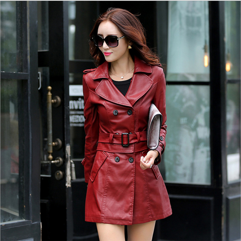 Hot 2018 Autumn New Women Long Leather Jacket Slim Plus Size Bow Belt Motorcycle PU Leather