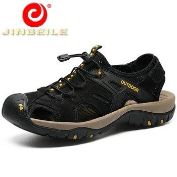 JINBEILE/Большие размеры 38-47, мужские уличные сандалии, мягкая и дышащая пляжная обувь, мужские сандалии из натуральной кожи для прогулок