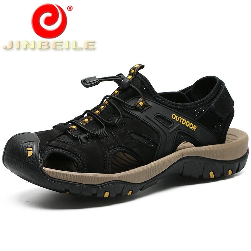 JINBEILE big size 38-47 men outdoor sandals soft & breathable beach shoes men genuine leather hard- wearing walking sandals men