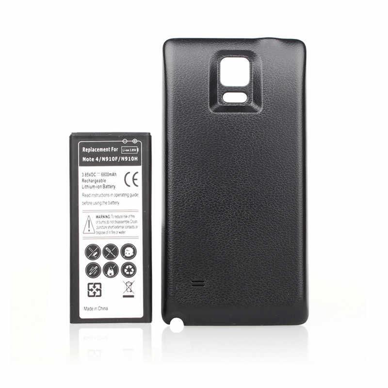 6800 mah bateria do Samsunga uwaga IV Note4 N9100 N910F N910H N910 rozszerzona bateria + tylna pokrywa etui do Samsung Note Note4