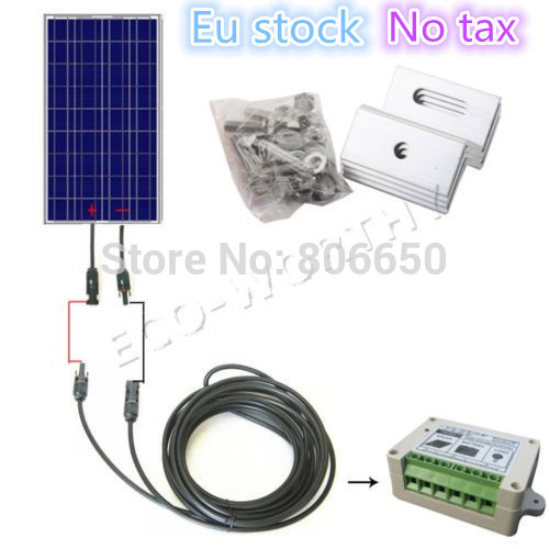 No Tax No Duty 100W Solar Panel with Solar Cable Solar Controller and Bracket Free Shipping solar system with poly 25w12v solar panel 3a solar controller 2m extension cable with battery clips free shipping