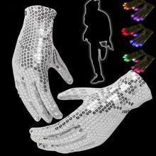 New Sequins Flashing font b Gloves b font Glow 7 Mode font b LED b font