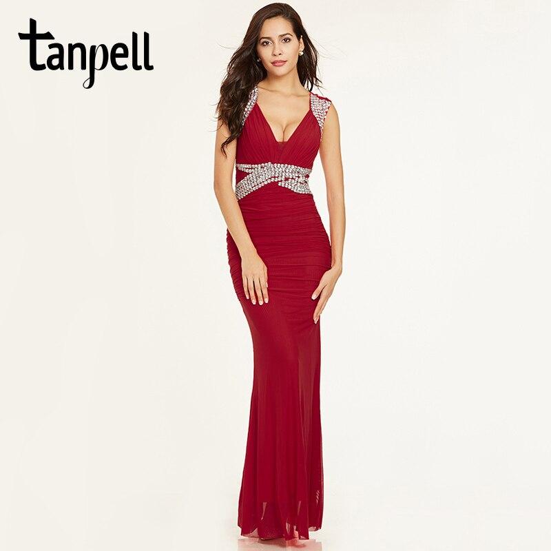 Tanpell sheath evening dresses red v neck sleeveless floor length ...