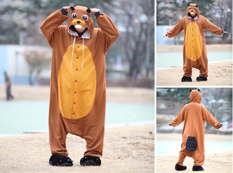 Костюм животного Косплэй для взрослых Пижама JP животного розовый синий желтый енот бобра дайкон муравей пчелы Рудольф пижамы