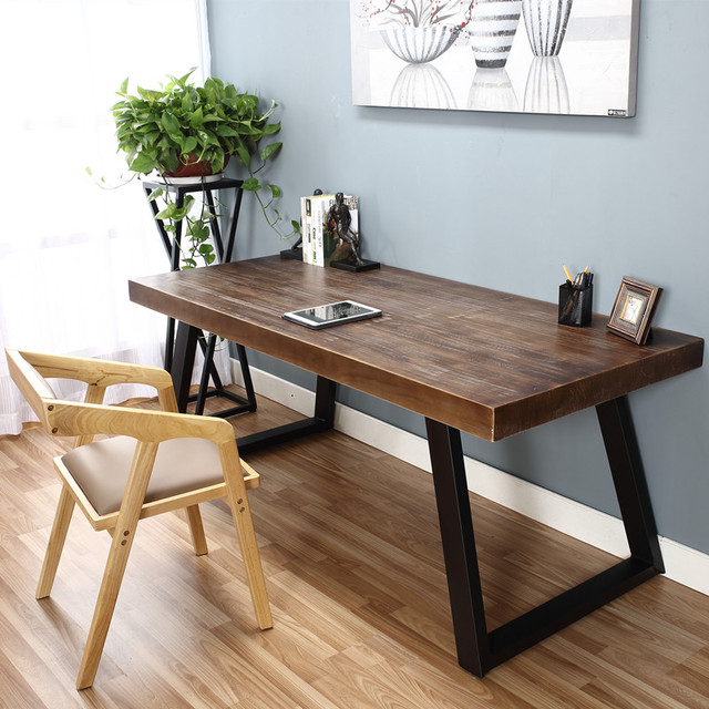 table Wrought iron tables and chairs Double solid wood ...