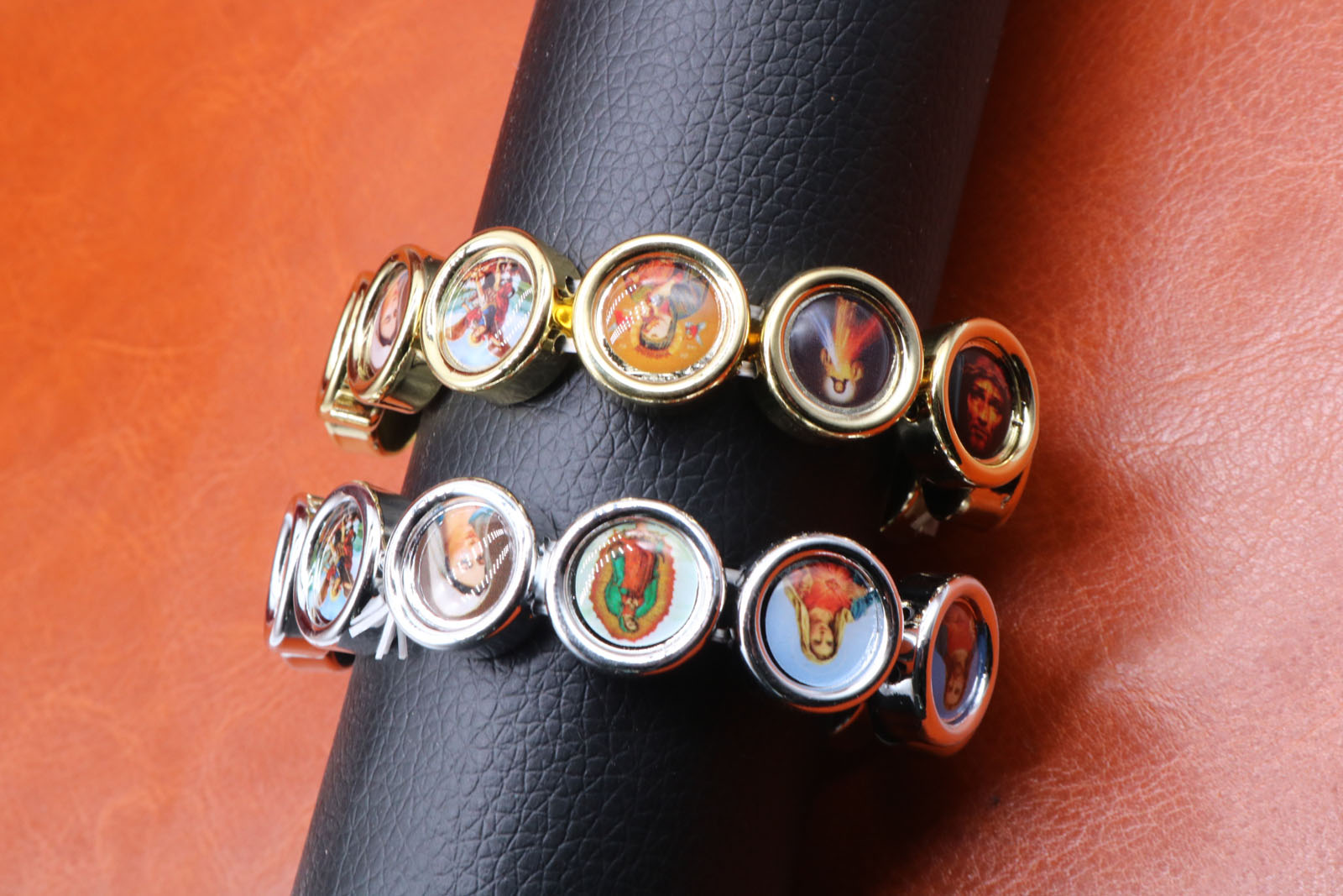 New Pop Jesus Cross Virgin Mary Holy Round Gold and Silver Bracelet INRI Cross Jesus Cross Bracelet Style.48PCS