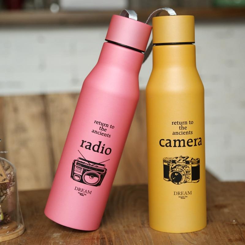 KCASA 1Pc Milk Tea water bottle Stainless Steel Water Vacuum Flasks Double Insulated Travel Bottle Drinkware Gift