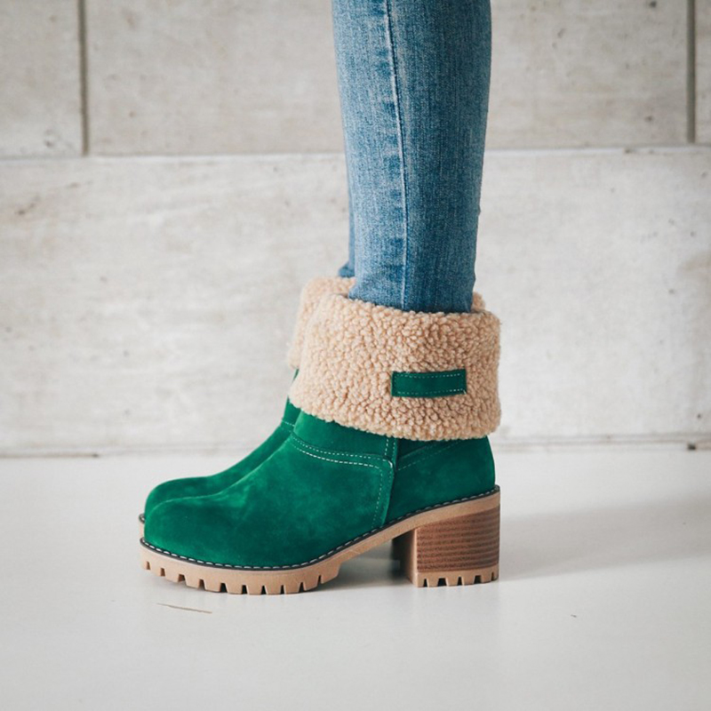 2018 New Women Boots Female Winter Shoes Woman Fur Warm Snow Boots Fashion Square High Heels Boots Black Green Botas Mujer все цены