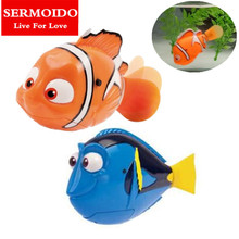 SERMOIDO Robot Small Dory Nemo Fish Tail Swimming Dolls Colorful Wig Mermaid Robofish Child Electronic Pet Toys A133(China)