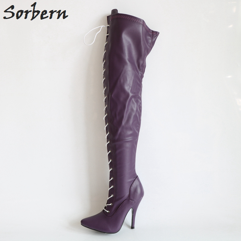 Sorbern Purple Matt Women Boots High Heels Lace-Up Over The Knee Boots Ladies Stilettos Custom Colors & Wide Calf Leg Boots sorbern matt stilettos metal heels 12cm boots women black over the knee boots women shoes size 44 custom plus size leg boots