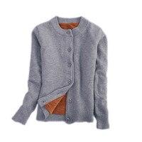 Winter Plus Velvet Knitted Cardigan Female Short Sweater Jacket Women Long Sleeve Jumper Sweaters Warm Cardigan Women Tops C3921