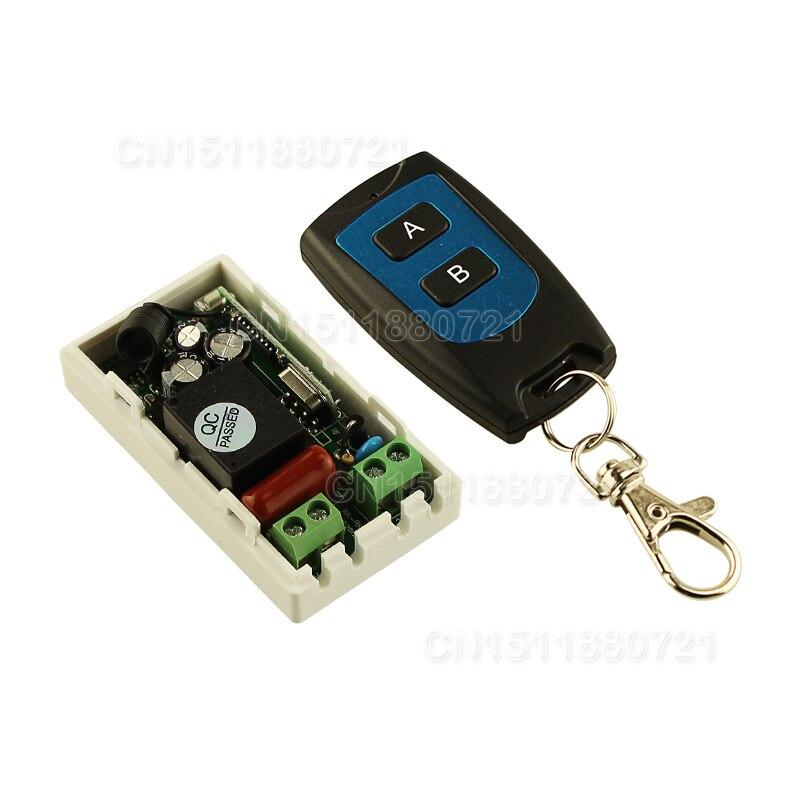 Mejor Precio AC 220 V 1CH inalámbrico sistema de interruptor de Control remoto transmisor receptor de 2 botones de Control remoto 315 MHz/433,92 MHz