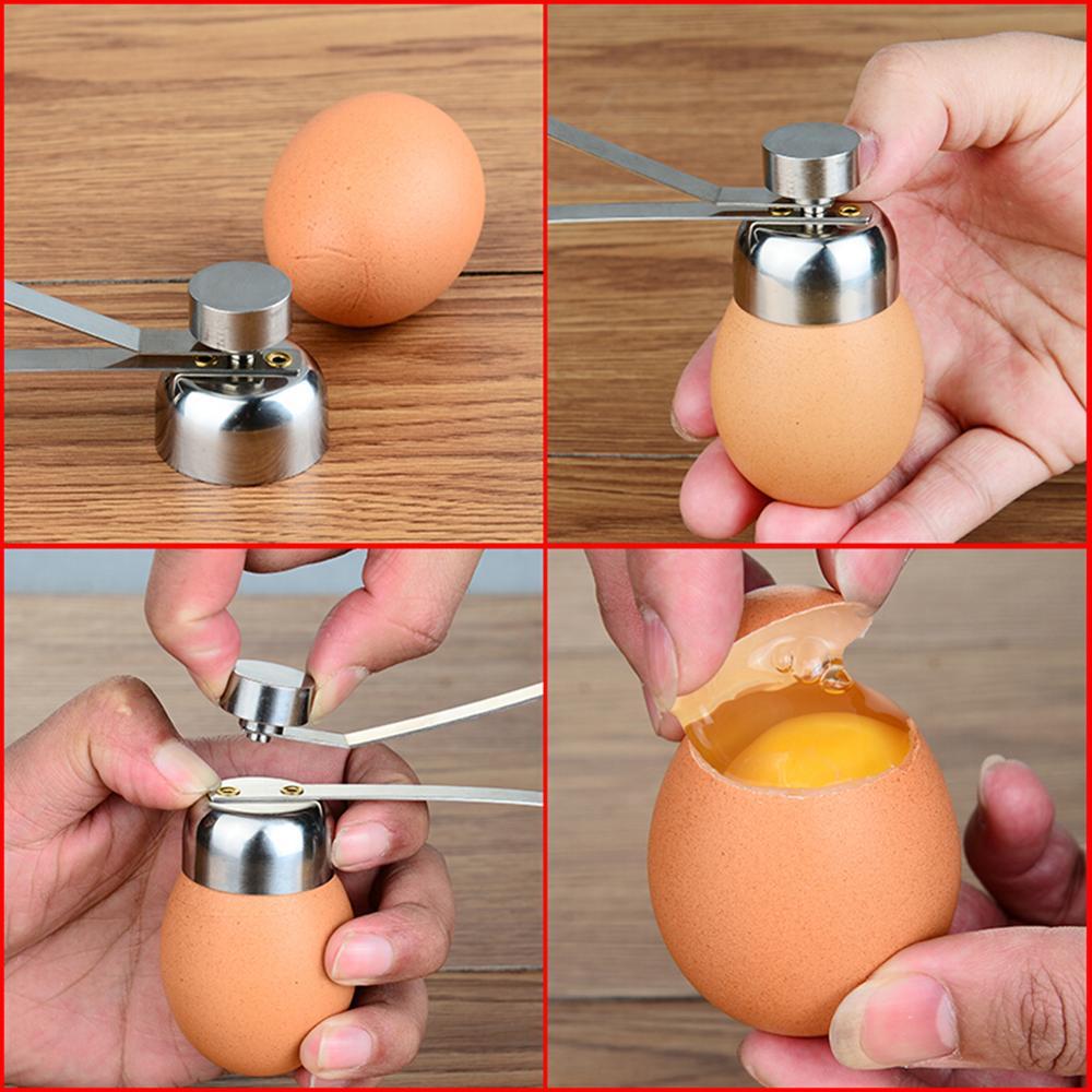 Nuove pratiche forbici per uova in metallo taglierina per Topper per uova apriscatole Set di utensili da cucina creativi aperti in acciaio inossidabile 2