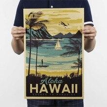 Принт-гавайский винтажный постер, картина для дома, декоративная Ретро картина, плакаты и принты, наклейки на стену 51*32,5 см