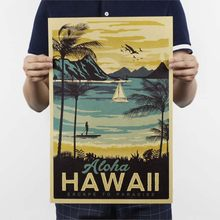 Print - Hawaii Vintage Poster Painting Pared Home Decor Retro Decorative Painting Posters And Prints Wall Stickers 51*32.5cm(China)