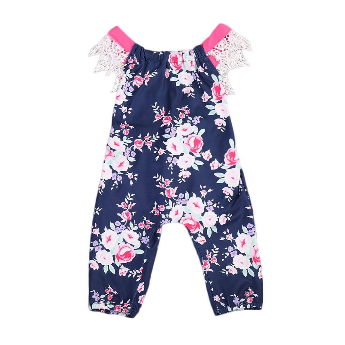 Cute Baby Girls Kids Lace Sleeveless Floral Printed Romper Backless Jumpsuit Sunsuit Beach Outfits