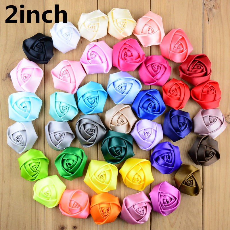 20pcs lot 2 inch Big Satin Ribbon Rose Flower 39color U Pick Handmade  Smooth Rosette ed8045144b21