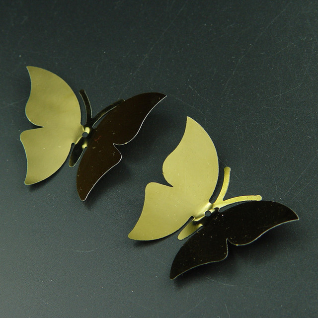 GOLD color size 6.3*4.7cm 3D mirror stainless butterfly wall ...