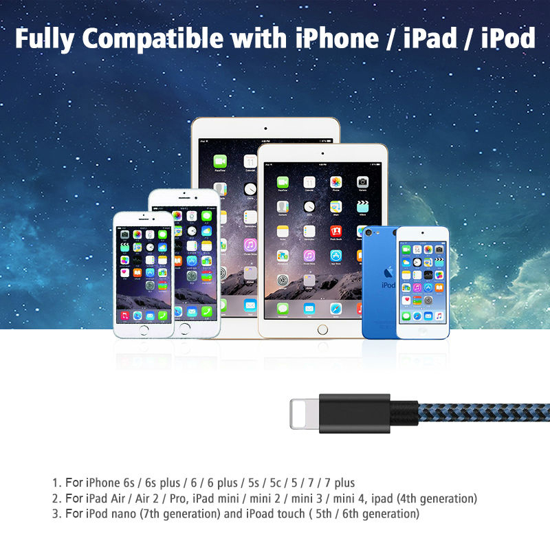 Lighting USB Cable Suntaiho 2.1A Lightning to USB Cable for iPhone 7 Data sync Fast Charging USB Cable for iPhone 5 6s iPad iPod