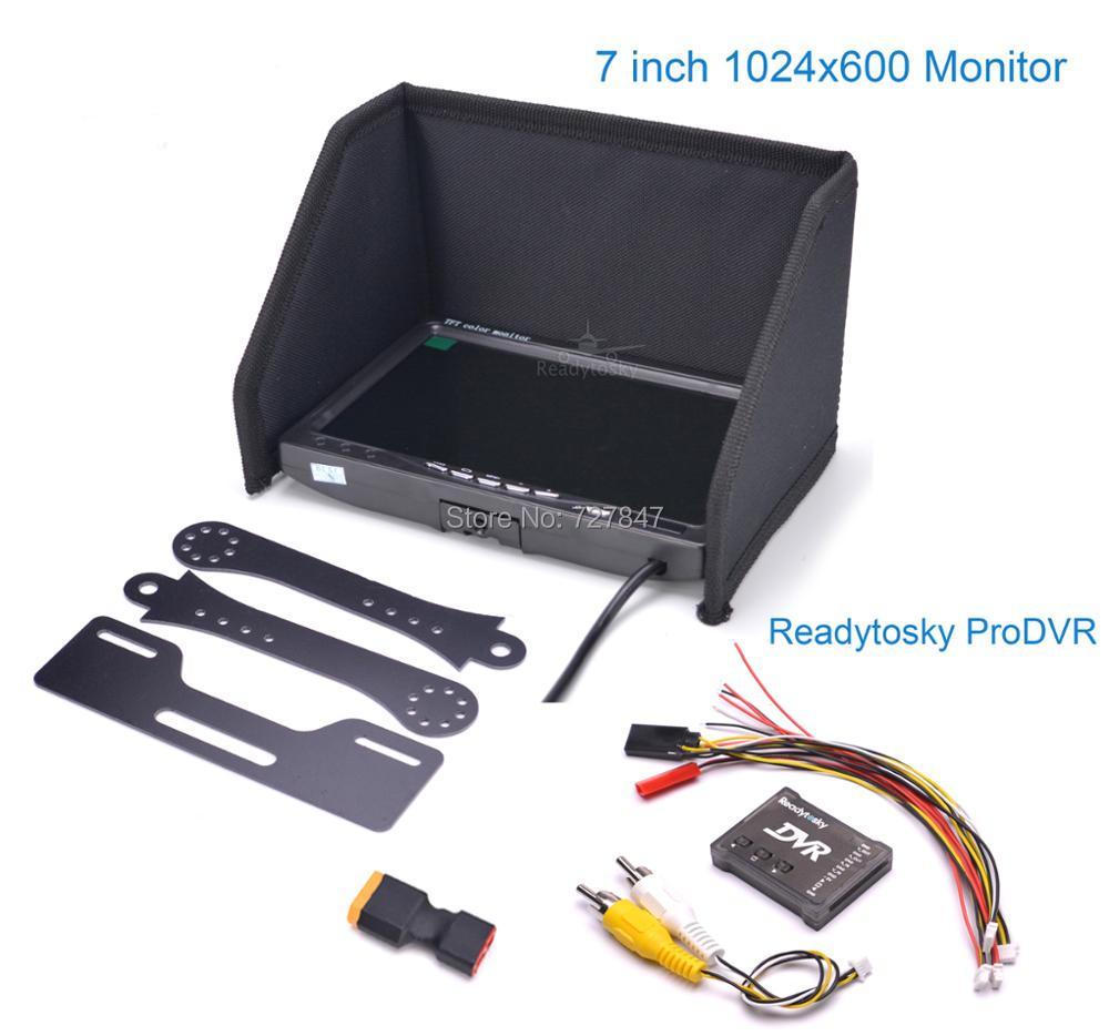 NO blue 7 LCD Color 1024 x 600 Monitor + ProDVR Pro DVR Mini Video Audio Recorder for FPV Kit Combo System
