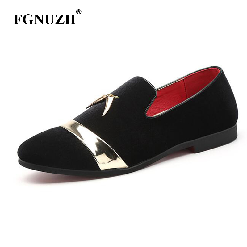 FGNUZH fashion party and wedding handmade men loafers men velvet shoes Leaves and gold buckle men dress shoe men's flats ST384(China)