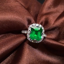AIGS Fine Jewelry G18k Rings Real Diamonds 18K Gold Natural Emerald 2.35ct Gemstones Female Wedding Rings for women Fine Ring fine jewelry customized size real 18k rose gold au750 100% natural tourmaline gemstone female rings for women fine ring