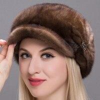 2018 Новый JKP модная женская меховая шапка из натуральной кожи зимняя шапка кожа норки аксессуары шляпа теплые зимние кожаные норки зимняя ша