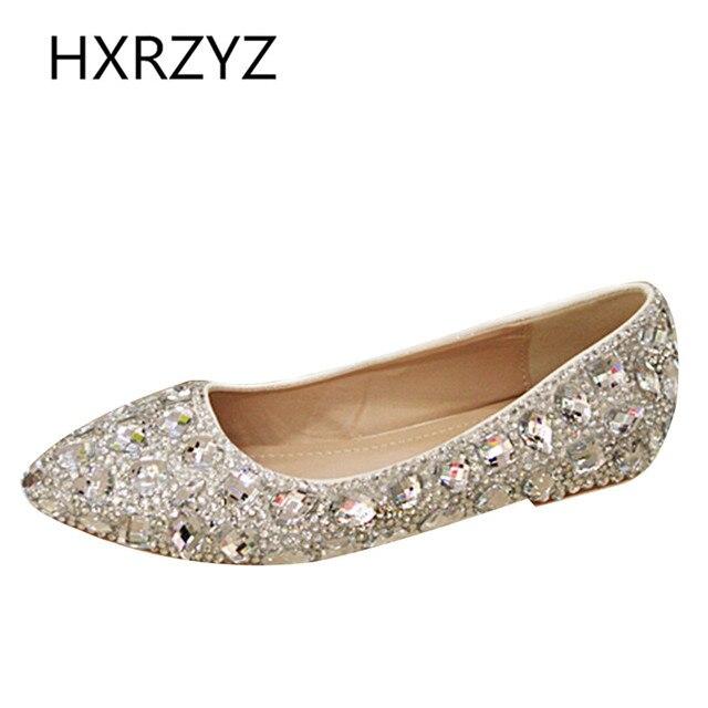 Large Sizes Handmade Women Single Slipper Shiny Rhinestone Princess Bride High Quality Wedding Shoes Fashion Causal Flats Shoes