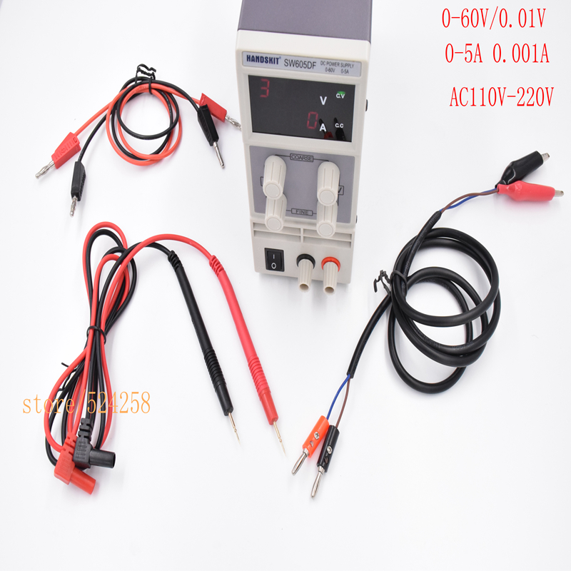 SW605DF Adjustable High precision LED display switch DC Power Supply protection function 60V 5A 0.01V 0.001A 4DIGITAL switch power kps3010d adjustable high precision double led display switch dc power supply protection function 30v10a 110v 230v
