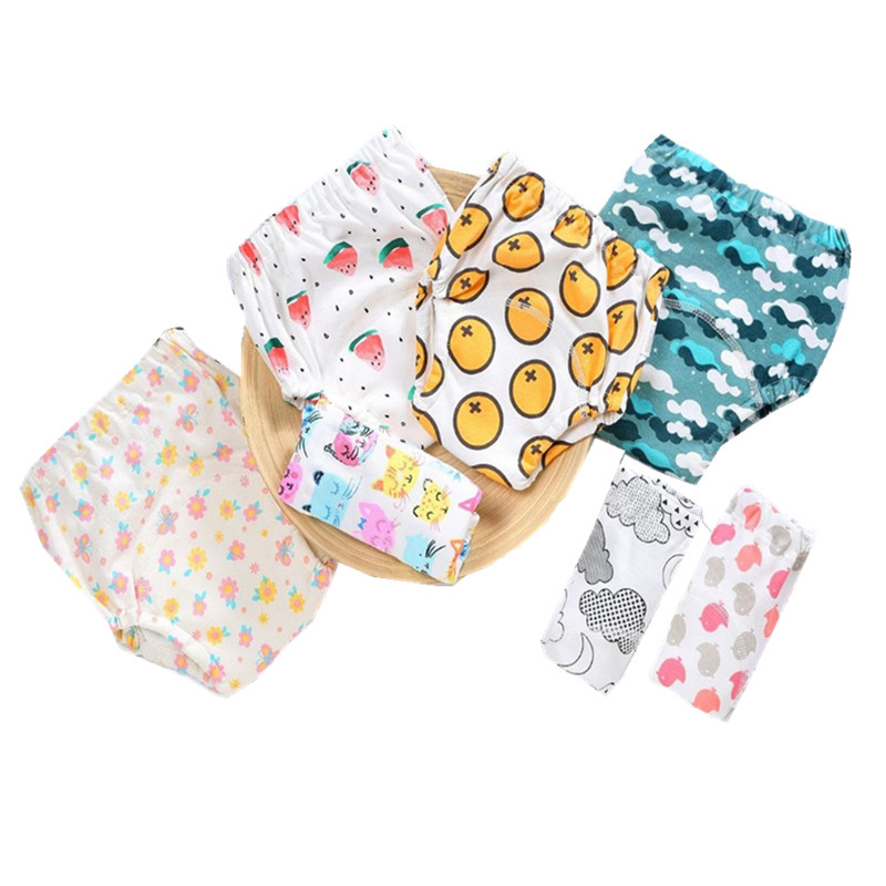 4Layers Cotton Baby Potty Training Pants Reusable Children Cloth Diaper Nappy Waterproof  Panties Kids Toddler Underwear