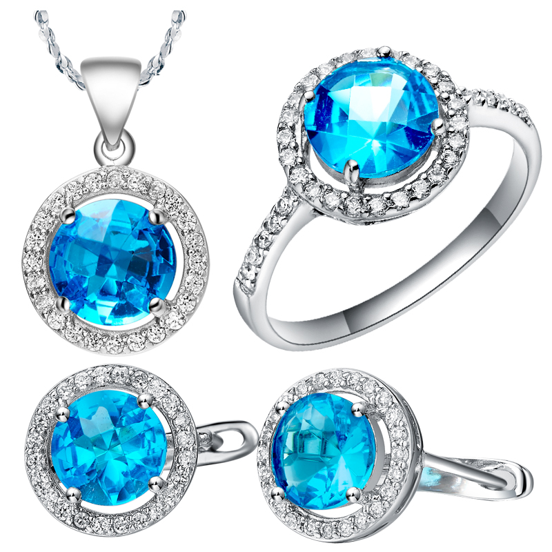 Wedding & Engagement Jewelry Bridal Jewelry Sets Jewelry Sets Blue For Womens Necklace/rings/earring Set,siler Plating Fashion Crystal Engagement Charms Jewelry Clearance Price