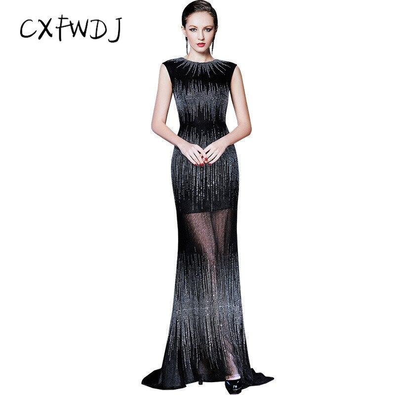 Tissu en Organza noir élégant o-cou fait à la main diamant sans manches Sexy magnifique Slim Fit longue robe de tenue de soirée pour femmes