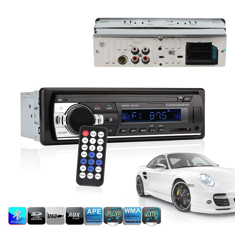 Car radio bluetooth jsd - 520 In-Dash 1 DIN 12V autoradio tuner Audio Stereo FM MP3 Players USB/SD MMC USB charger ISO 12 PIN image