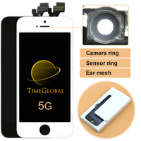 AAA 10 יחידות LCD עבור iphone 5 5 גרם טבעת תיקון lcd Digitizer עם מכלול צג מגע + חיישן + רשת אוזן + טבעת מצלמה, משלוח DHL